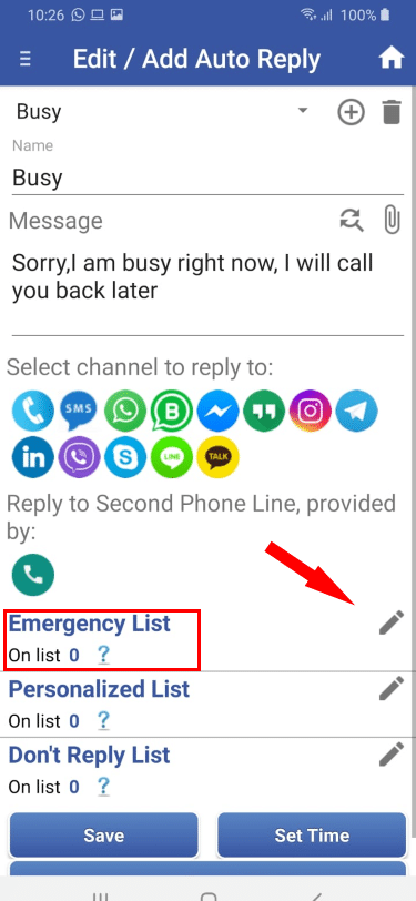 1. Edit Emergency List