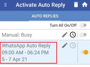 WhatsApp Auto Reply Message
